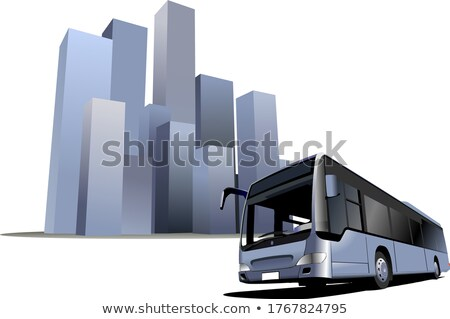 City panorama with  bus image. Coach. Vector illustration Stock photo © leonido