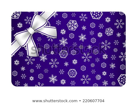 dark blue christmas card with silver snow flakes and ribbon in the corner stock photo © liliwhite