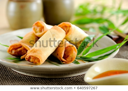 fried shrimp and spring roll stock photo © m-studio