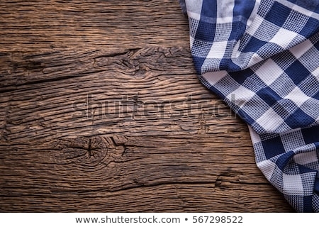 Background with checkered tablecloth and a rustic wall Stock photo © Zerbor