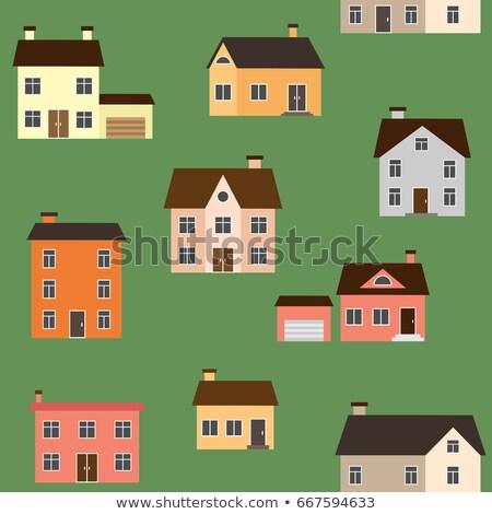 ретро пригородный дома иллюстрация стиль Сток-фото © blamb