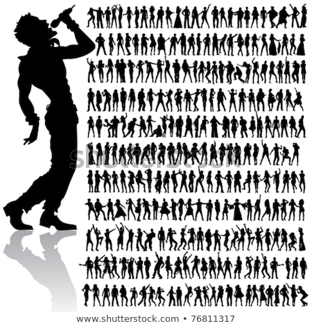 female singers silhouette set stock photo © illustrart