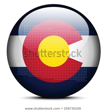 Stok fotoğraf: Map With Dot Pattern On Flag Button Of Usa Colorado State