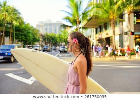 Boldog szörfös lány szörfözik Waikiki tengerpart Stock fotó © Maridav