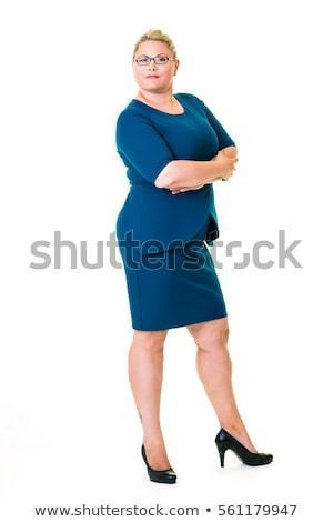 女性実業家 · 折られた · 腕 · ブロンド · 笑みを浮かべて · カメラ - ストックフォト © Flareimage