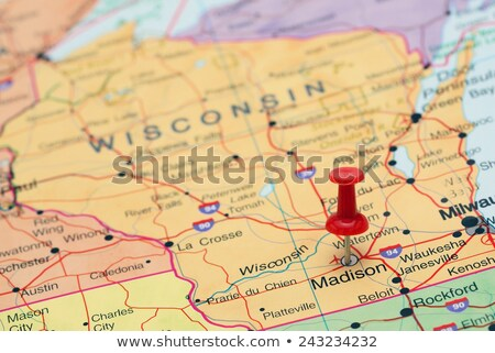 Wisconsin carte broches marqueur isolé Photo stock © speedfighter