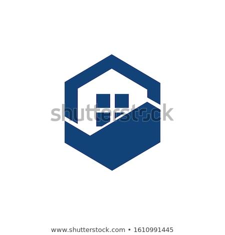 Maison bleu logo symbole élément design Photo stock © blaskorizov