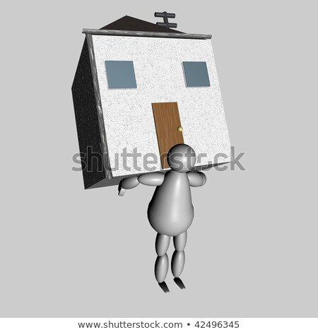 3D puppet bringing house on his back Stock photo © Koufax73