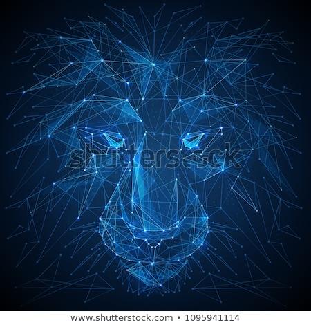 лев 3D низкий многоугольник белый Сток-фото © teerawit