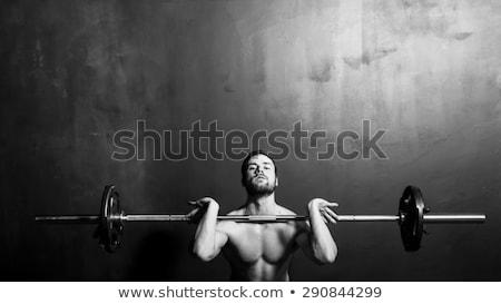 sterke · man · naakt · torso · barbell - stockfoto © deandrobot