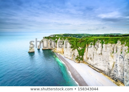 Aerial view of Etretat Aval cliff Stock photo © vwalakte