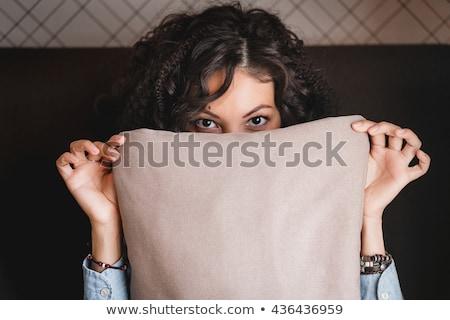 Félénk csinos fiatal nő rejtőzködik arc mögött Stock fotó © deandrobot