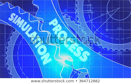 Process Simulation on Blueprint of Cogs. Stock photo © tashatuvango
