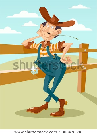 Cartoon cowboy leaning on a fence Stock photo © antonbrand