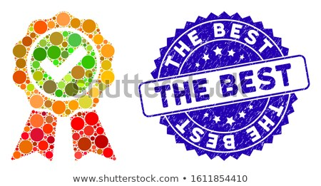 Qualité bleu sceau vecteur icône étiquette Photo stock © rizwanali3d