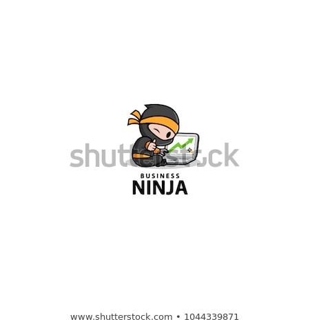 Illusztráció nindzsa festék kard ázsiai ecset Stock fotó © nezezon