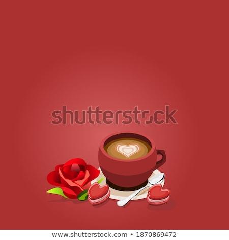 Liebe Form Tasse Tee Löffel rote Rose Stock foto © kenishirotie