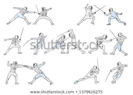 Stock photo: Swordsmen Fencing Isolated Cartoon