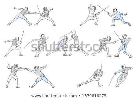 swordsmen fencing isolated cartoon stock photo © patrimonio
