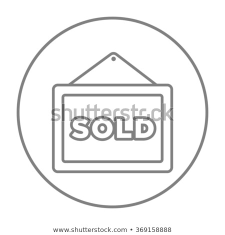sold placard line icon stock photo © rastudio