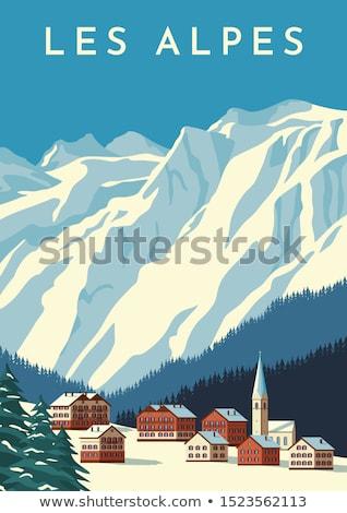 деревне склон горные небольшой домах Сток-фото © Steffus