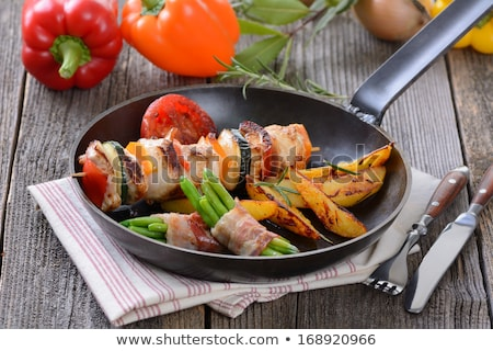 ストックフォト: 鶏 · サヤインゲン · 文字列 · 豆 · 肉