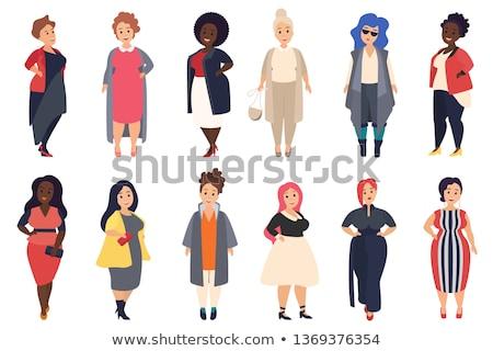 Zdjęcia stock: Plus Size Attractive Blonde Girl Vector Illustration