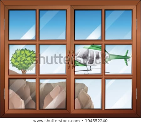 Stock photo: A closed window with a view of the helicopter going to the cliff