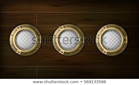 Porthole on wooden background Stock photo © m_pavlov