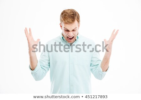 Crazy hysterical businessman dropped something, screaming and looking down Stock photo © deandrobot
