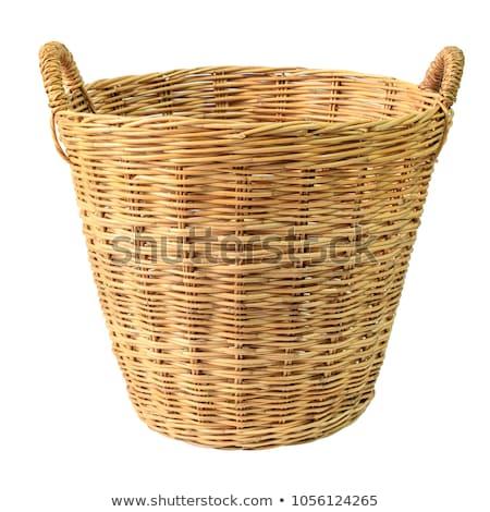 Starych wiklina koszyka odizolowany biały strony Zdjęcia stock © OleksandrO