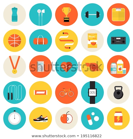 Fitness gym and healthy lifestyle flat vector icons Stock photo © vectorikart