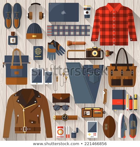 men fashion clothes and accessories flat vector icons stock photo © vectorikart