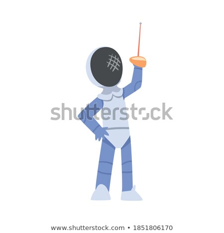 Athlete in uniform doing fencing Stock photo © bluering