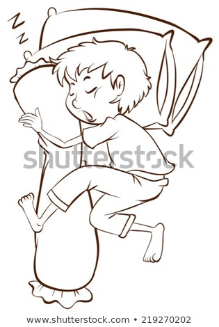 A simple sketch of a boy sleeping soundly Stock photo © bluering