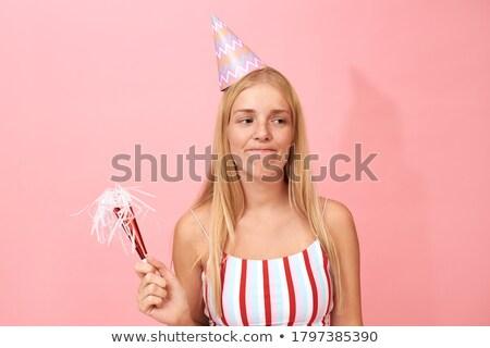 Engraçado mulher aniversário seis festa Foto stock © deandrobot