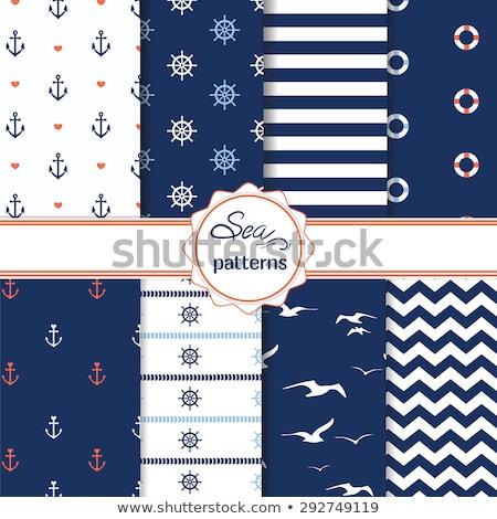 Szett végtelenített tengerészeti minták hajó kerekek Stock fotó © pakete