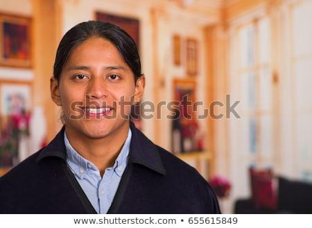 aranyos · őslakos · amerikai · indián · lány · nők · haj - stock fotó © bluering