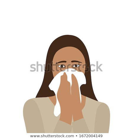 Girl covers nose with handkerchief Stock photo © bluering