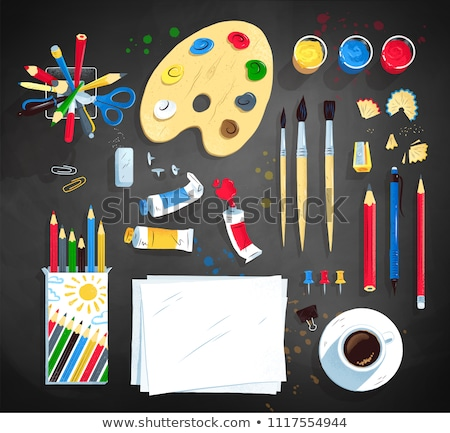 School stationery supplies vector clip art objects. Stock photo © yopixart