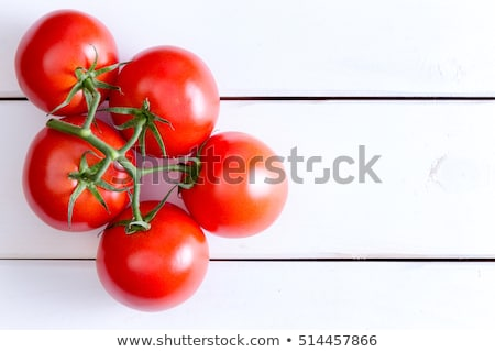 Five Hydroponic tomatoes over white wooden table Stock photo © ozgur