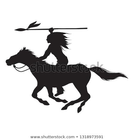 Indian on horseback in the desert Stock photo © adrenalina