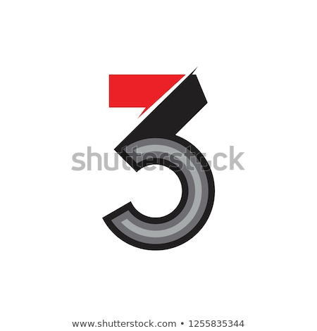 colorful abstract logo with number 3 stock photo © sarts
