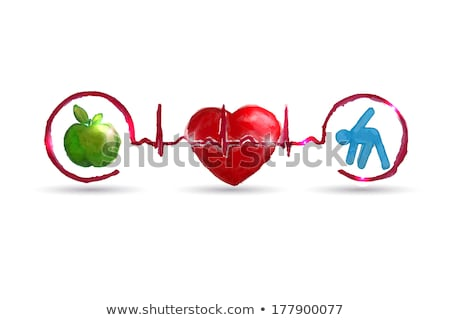 Healthy living symbols connected with normal heart sinus rhythm Stock photo © Tefi