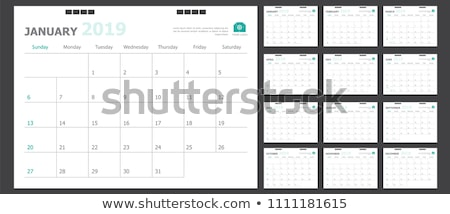 カレンダー グリッド テンプレート 孤立した 白 黒 ストックフォト © orensila