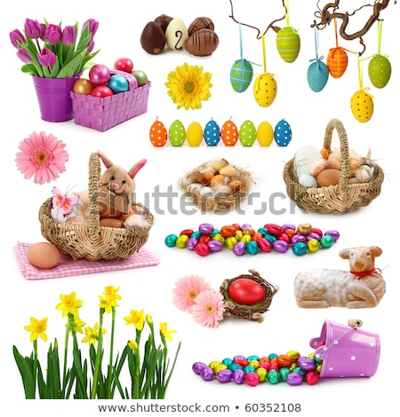 Easter eggs with tulip and chocolate hare Stock photo © dashapetrenko