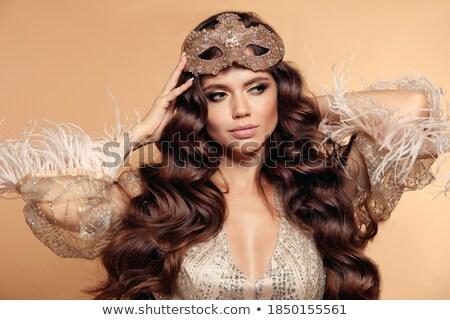 beauté · mode · femme · or · élégante · brunette - photo stock © Victoria_Andreas