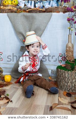 Küçük kız elbise örnek kız çocuk arka plan Stok fotoğraf © bluering