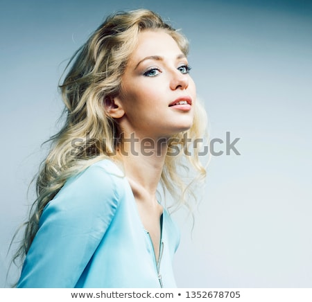 young pretty stylish blond hipster girl posing emotional isolated on white background happy smiling stock photo © iordani