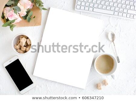 женский кофе роз журнала романтические охватывать Сток-фото © manera